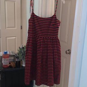 J. Crew Linen Red and Blue Sundress